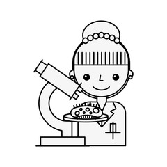 scientific woman character microscope virus study