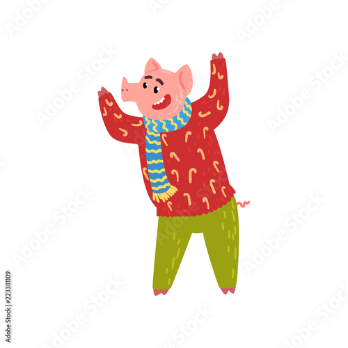 Cute Funny Pig Character Dressed In Warm Bright Clothes Having Fun