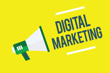 Writing note showing Digital Marketing. Business photo showcasing Promotion of products or brands thru electronic media Megaphone yellow background important message speaking loud