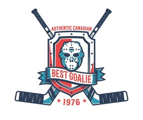 Retro logo of the hockey goalkeeper - vintage goalie mask,  knight's shield and crossed sticks.