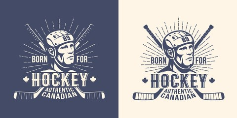 Hockey retro vintage logo with player head and crossed sticks. Versions for light and dark background. Stamp style.