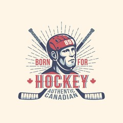 Sports print mascot with hockey player and sticks in vintage style.