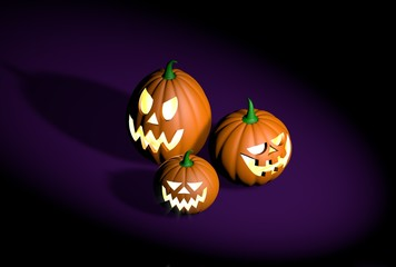 Group of different halloween pumpkins characters on a dark background - realistic 3d illustration