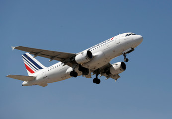 The Air France Airbus A319-113 takes off from Nice International airport in Nice