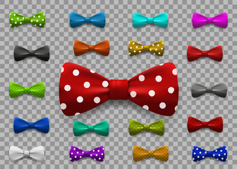 Set of multi colored bow tie isolated on transparent background. Clothing accessories.