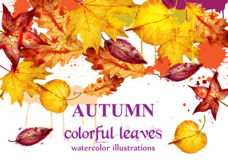 Autumn leaves watercolor Vector decor background. Fall banner template. Yellow colors