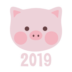 Cute Pig, greeting card merry christmas and happy new year 2019, chinese new year, vector illustration