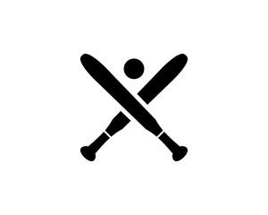 Baseball crossed bats with ball logo template