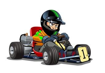 Cartoon kart racer isolated on white background