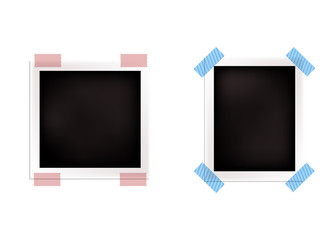 Vector Retro Realistic Photo Frames on White Background, Blank.