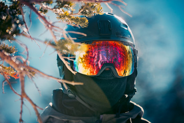 Reflections In A Skiers Goggles At A Mountain Resort