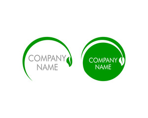 Set of Organic Leaf Circle Simple Emblem Logo Template