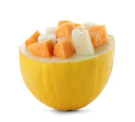 Fresh cut sweet melon on white background