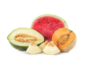 Tasty sliced melons and watermelon on white background