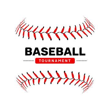 Baseball lace ball illustration isolated symbol. Vector baseball background sport design
