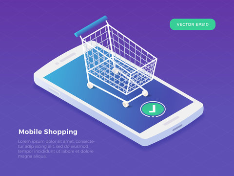 Mobile shopping concept with smartphone and shopping cart. Isometric vector illustration