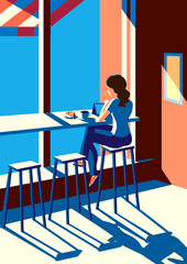 Sunny morning / Creative conceptual vector. Woman sitting in the cafe with a cup of coffee.