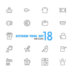 Kitchen tool icons. Set of  line icons. Toaster, mixer, apron. Utensils concept. Vector illustration can be used for topics like cooking, kitchen equipment