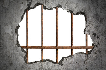 Broken old grunge wall with old prison rusted metal bars on white with clipping path, concept of escape