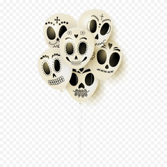 Festive white balloons for Day of the Dead. White balloons with smiles isolated on transparent background. Vector illustration.