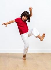 joyful child playing monster for kids fighting body language