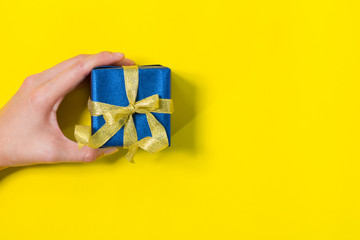 gift box on yellow background
