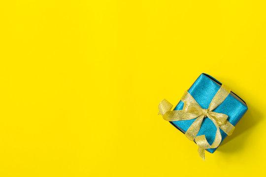 gift box on yellow background