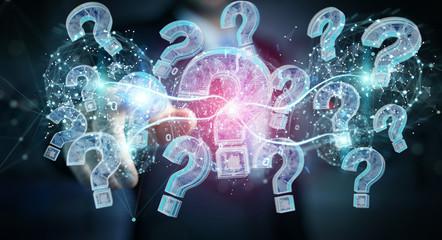 Businessman solving problem with digital question marks 3D rendering