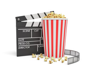 3d rendering of a full popcorn bucket standing near an empty clapperboard and a film strip on white background.