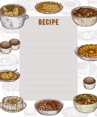 Recipe card. Cookbook page. Design template with collection of delicious food. Vector illustration in sketch style