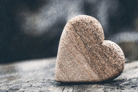 Feelings of stone heart for concept background