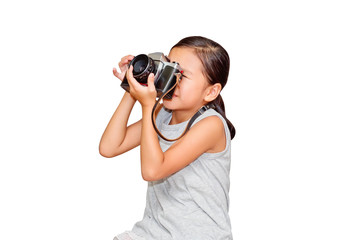 Beautiful smiling girl holding a camera. (clipping path)