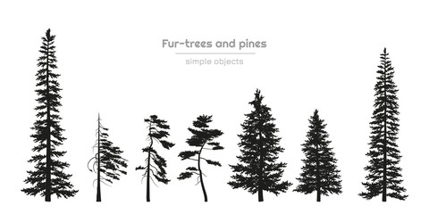 Black silhouettes of fur-trees and pines. Forest landscape. Isolated drawing of simple objects. Vector illustration