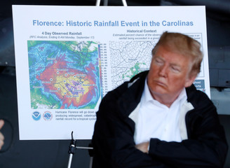 U.S. President Trump participates in a briefing on Hurricane Florence recovery efforts at Marine Corps Air Station Cherry Point in Havelock, North Carolina
