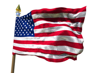USA flag Isolated Silk foil waving flag of United States of America with wooden flagpole with golden spear on white isolate  background 3d illustration