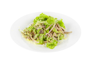 Salad with meat, beef, boiled pork, mushrooms, sausage, ham, lettuce, cheese on plate, white isolated background Side view. For the menu restaurant bar cafe