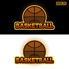 vector basketball logo with a picture of a basketball on a dark background