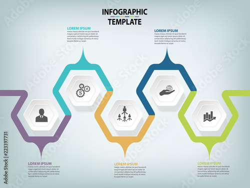 modern infographic process template vector template with 5 hexagons