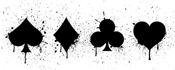 The suits of the deck of playing cards on background of splashing. Vector illustration.
