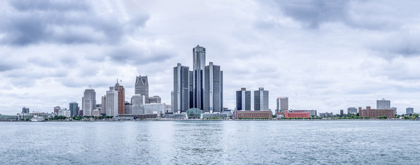 Business part of the city, view from the embankment of the Detroit River