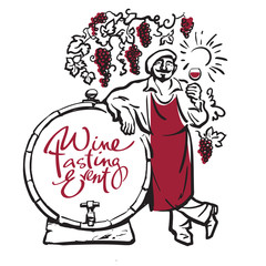 Winemaker tasting red wine in glass smiling leaning on barrel in vineyard. Hand drawn sketch vector.