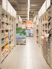 Picture blurred for background abstract. Blurred shelves in the supermarket
