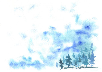 Blue winter watercolor background for your design