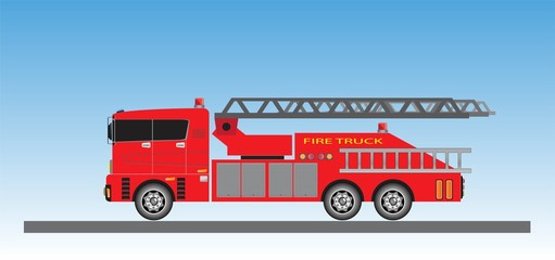 Fire Truck on blue sky background