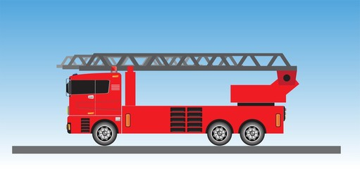 Fire Truck on blue sky background