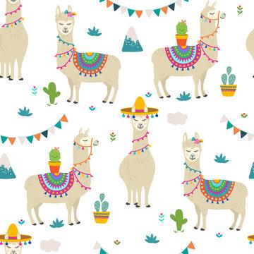 PrintCute cartoon llama alpaca seamless pattern vector graphic design. Hand drawn llama character illustration and cactus elements for nursery design, birthday, baby shower design and party decor, pri