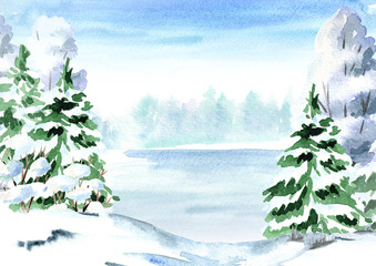 Winter background,  landscape with fir, tree and lake. Watercolor hand drawn illustration