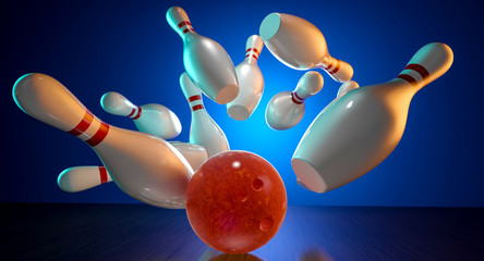 Fototapete - 3d image of bowling action