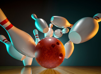 Wall Mural - bowling action 3d rendering