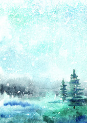 Winter background,  landscape with snow. Watercolor hand drawn vertical illustration